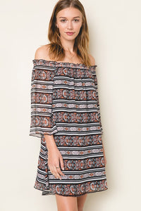 Allison Off Shoulder Printed Dress