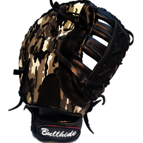 "Bullhide Camo Leather-Mesh First Baseman Mitt 13"" - Bullhideusa"