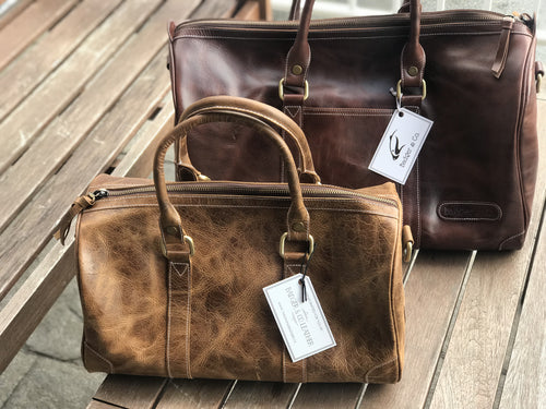 Mini Duffle / Caramel Distressed Leather