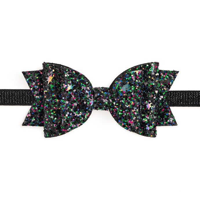 Black Confetti Bow Soft Headband