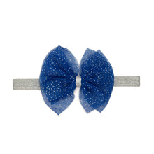 Load image into Gallery viewer, Blue/Silver Bow Soft Headband