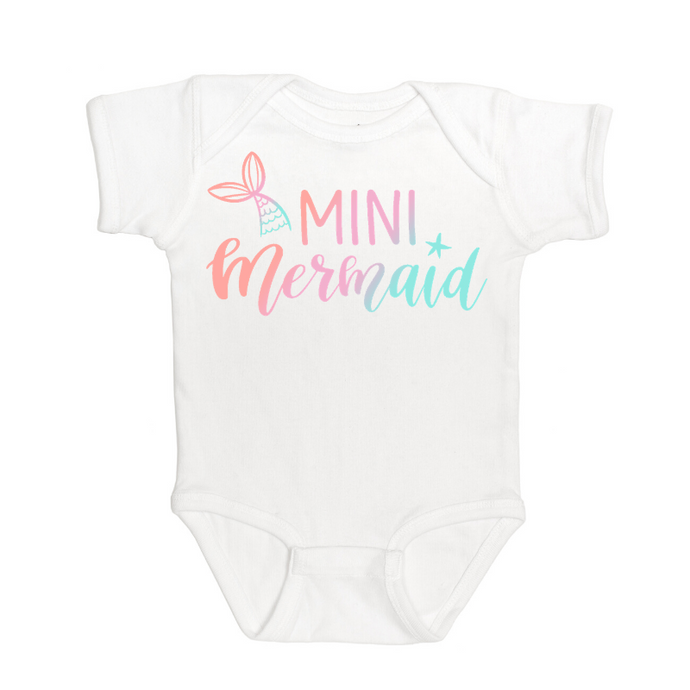 Ombre Mini Mermaid S/S Bodysuit - White