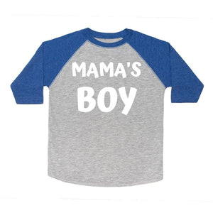 Mama's Boy White L/S Shirt - Heather/Royal