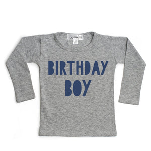 Birthday Boy L/S Shirt - Gray/Navy