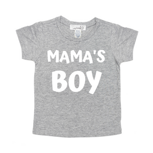 Mama's Boy White S/S Shirt - Gray