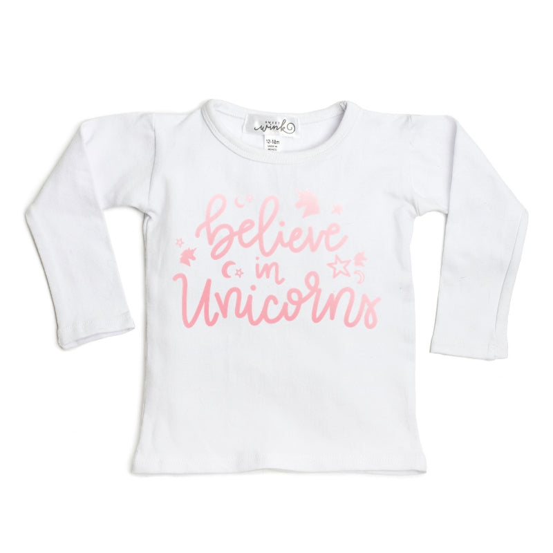 Believe in Unicorns L/S Shirt - White