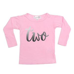 Two (Girl) L/S Shirt - Light Pink - 2T