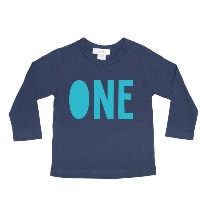 One (Boy) L/S Shirt - Navy/Blue