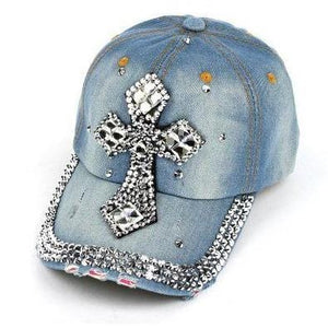 Rhinestone Cross Cap - TRUTH Christian Boutique