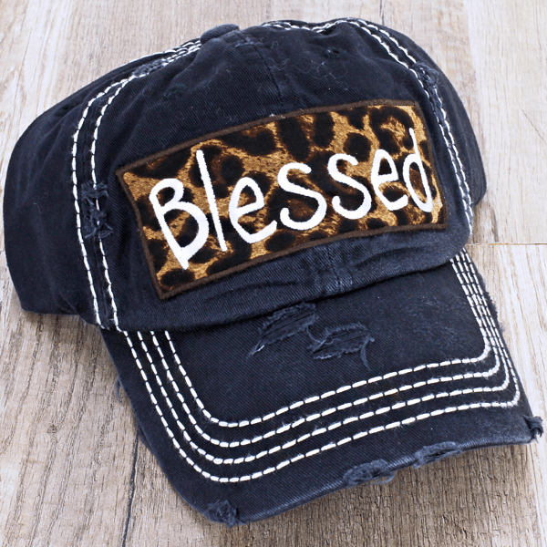 """Blessed"" Leopard Print Patch Cap - TRUTH Christian Boutique"