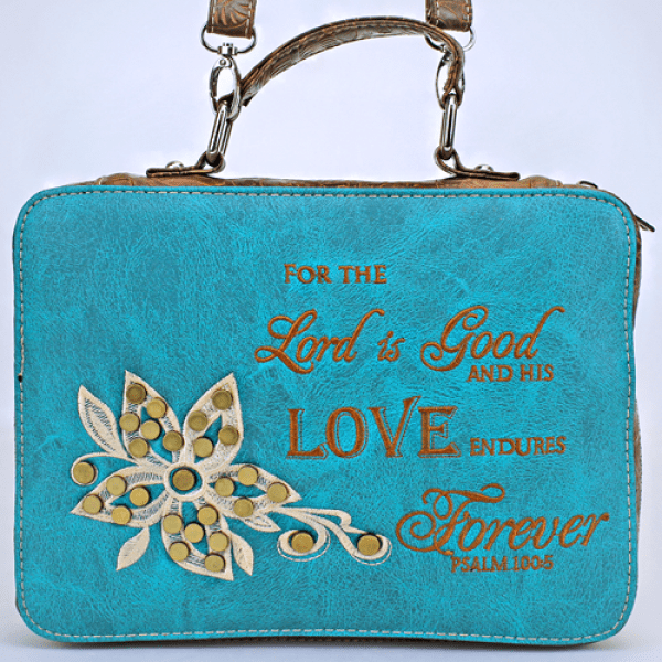 """Lord Is Good"" Leather Bible Cover - TRUTH Christian Boutique"