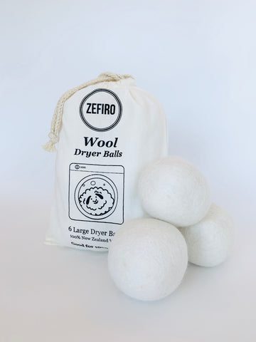 Zefiro Dryer Balls 6 Pack 100% New Zealand Wool Dryer Balls