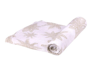 baby swaddle blanket with star and flower detail