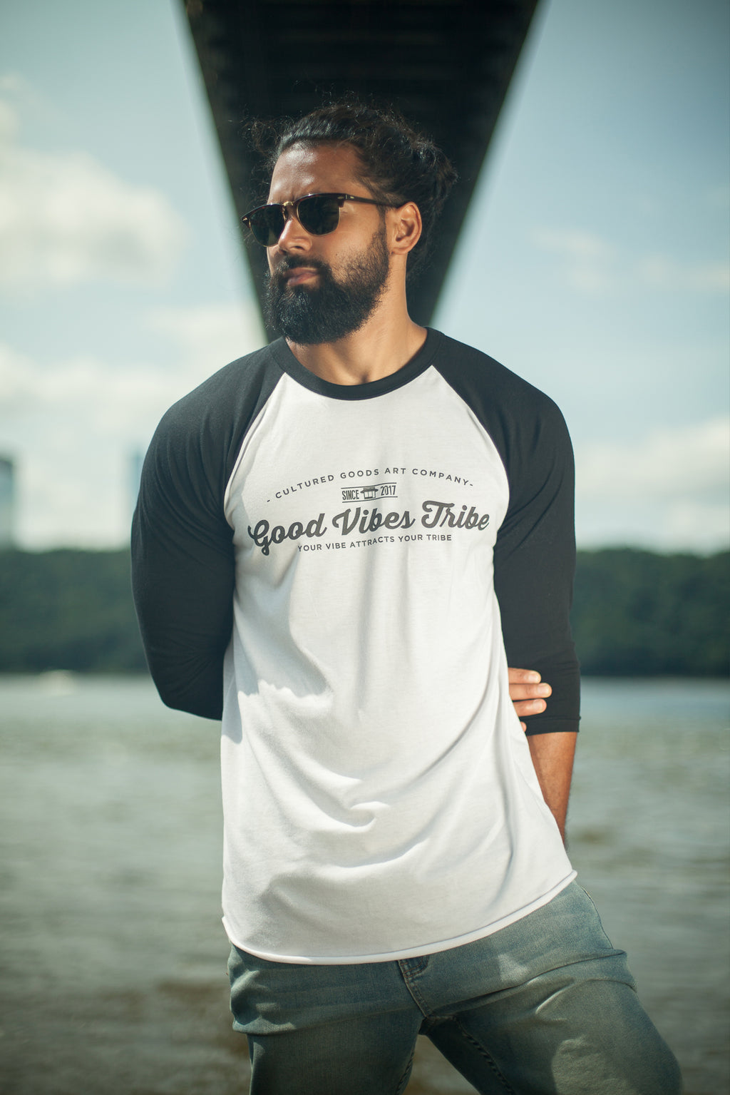 Good Vibes Tribe 3/4 sleeve raglan shirt