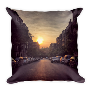 Uptown at dusk throw pillow