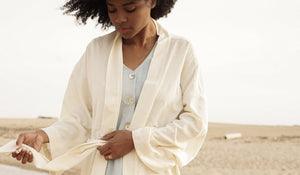 100% Silk Noile kimono style jacket made from reclaimed textiles ethically made in Canada