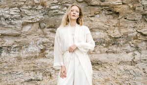 Silk Chiffon Robe, available in natural or naturally dyed with cochineal ethically made in Canada