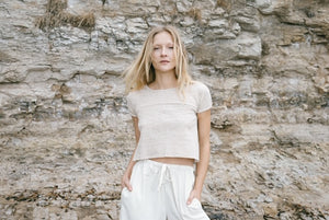 Limited edition tees are made from reclaimed textiles. Sourced natural sustainable fibres