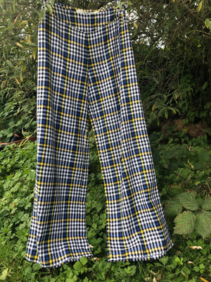 Yellow & blue palazzo pants made with reclaimed textiles.
