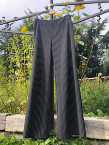Black palazzo pants made with reclaimed textiles.
