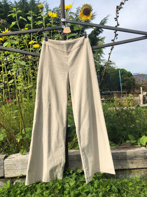 Natural fabric palazzo pants made with reclaimed textiles.