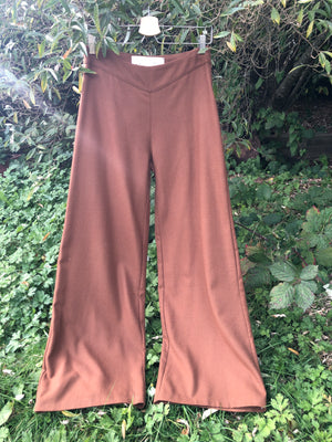 Palazzo pants made with reclaimed textiles red earth wool