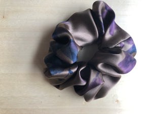 Floral on Cocoa Silk Scrunchie