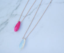 Faceted Semi Precious Stone Teardrop Pendant Necklace
