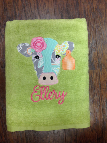 Appliqued Towel: Cow