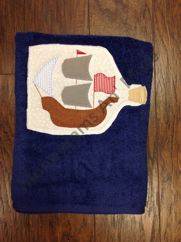 Appliqued Towel: Boat In A Bottle Towel