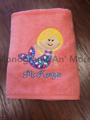 Appliqued Towel - Mermaid