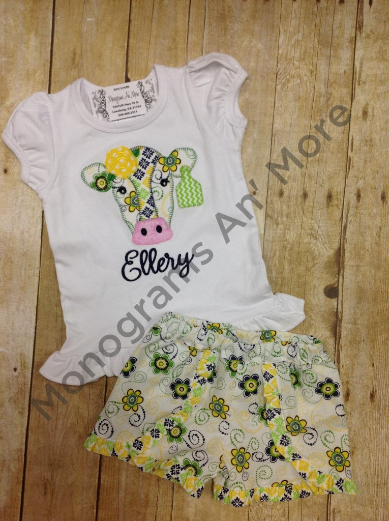 Cochella Short Outfit With Cow Applique Children