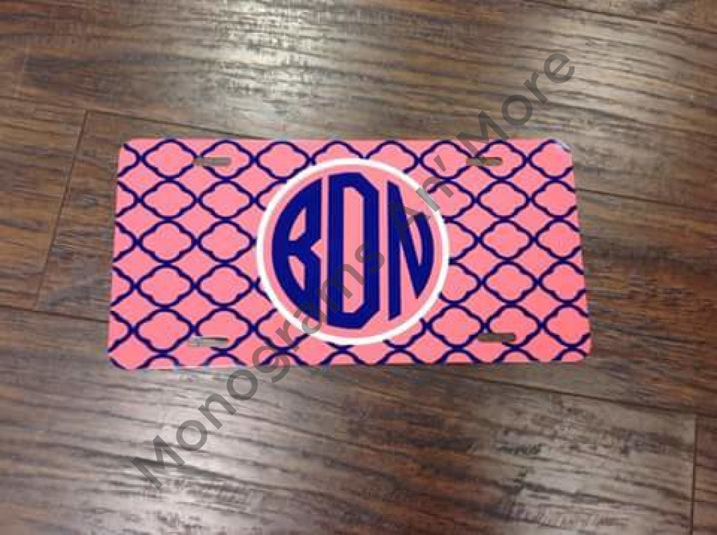 Coral Quatrefoil Printed Car Tag Ladies