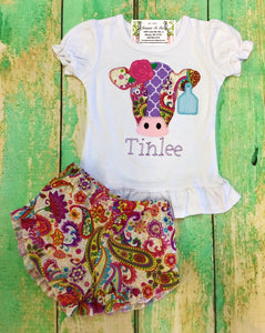 Girls Lucy shorts with cow applique shirt