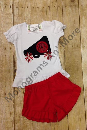 Girls Appliqued Cheer Ruffle Short Outfit Sports