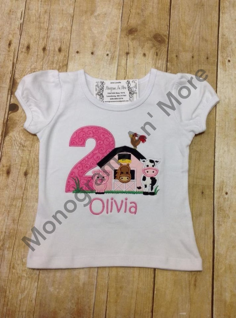 Girls Down On The Farm Birthday Shirt Outfit