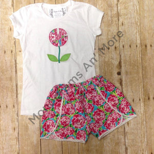 Lilly Inspired Coachella Shorts With Appliqued Shirt Children