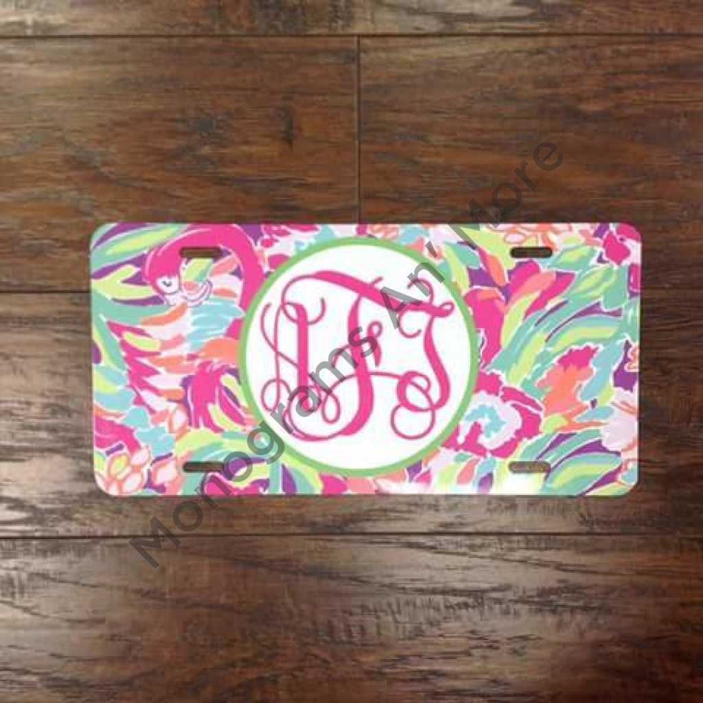 Lilly Inspired Flamingo Printed Car Tag Ladies