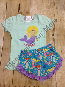 Mermaid Ruffle Short Outfit Children