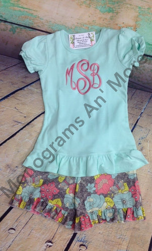 Monogram Shirt With Ruffle Short Outfit