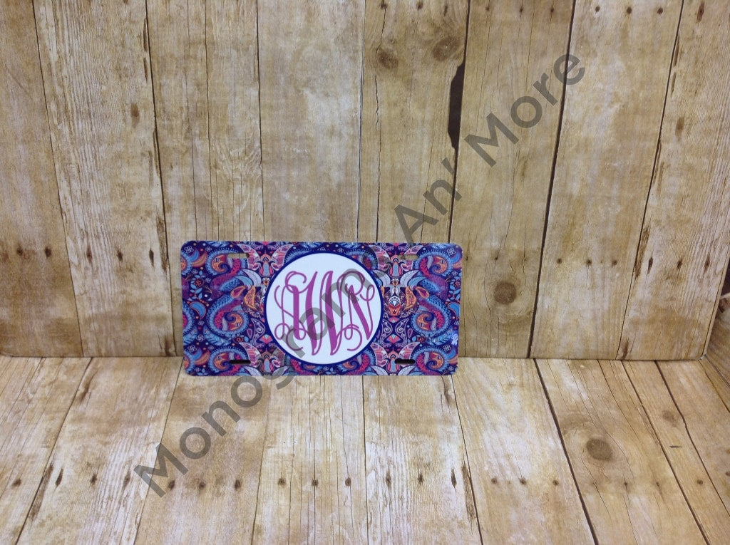 Purple Paisley Printed Car Tag Ladies