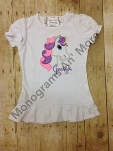 Unicorn Appliqued Ruffle Shirt