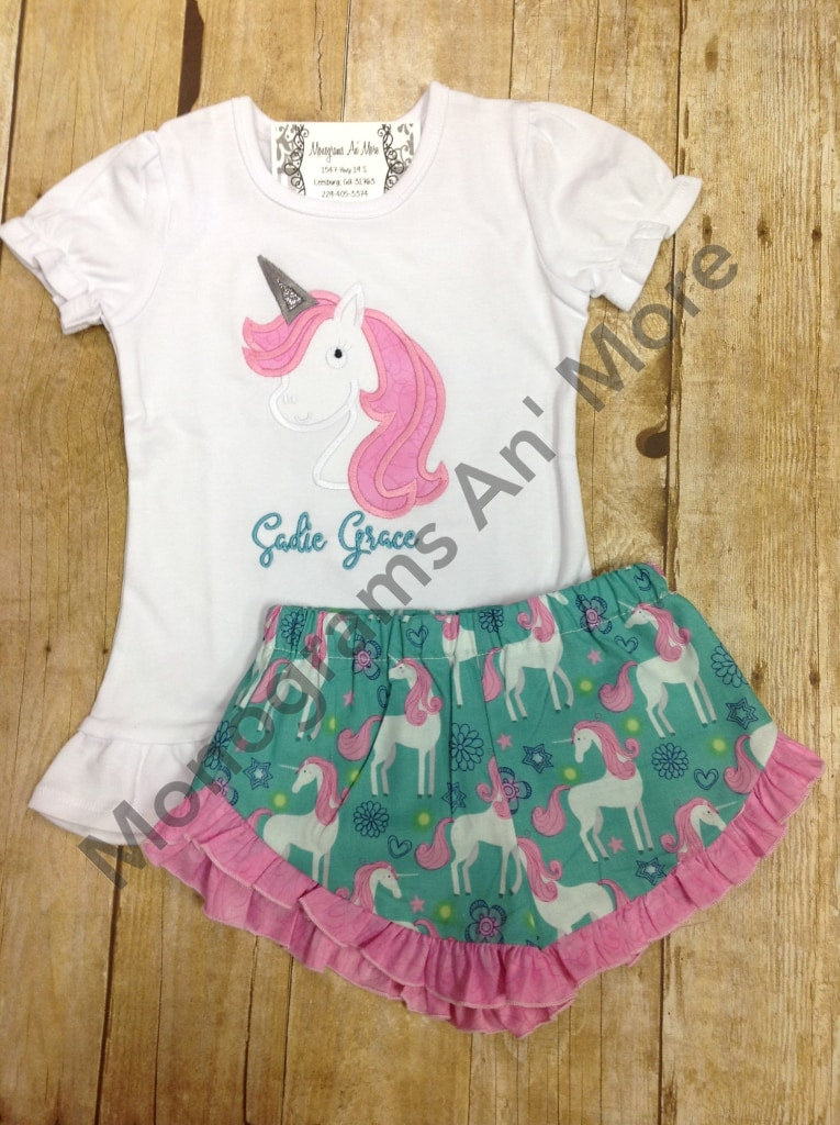 Unicorn Ruffle Shirt Outfit Children