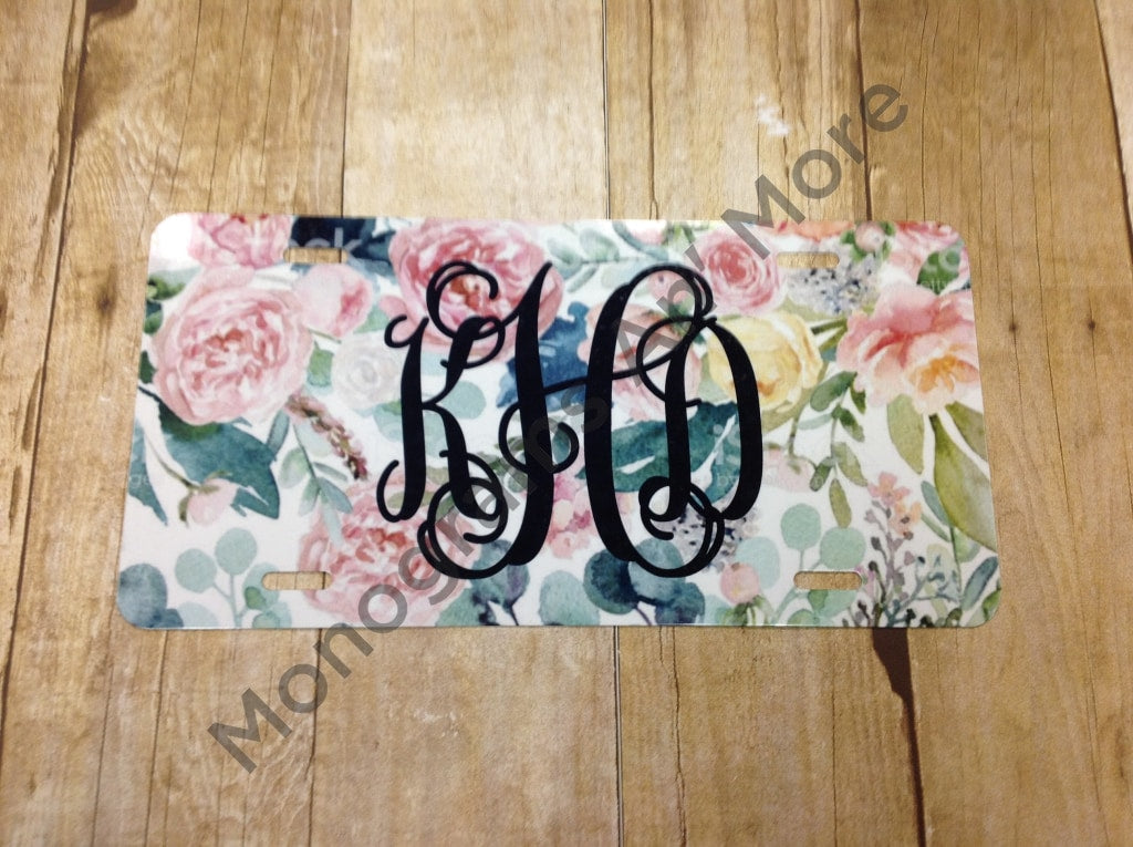 Water Color Rose Printed Car Tag Ladies