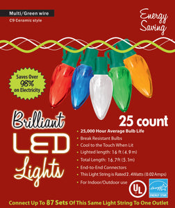 Holiday Lights 25 count Multi-color LED Old Fashion Ceramic Style / C9