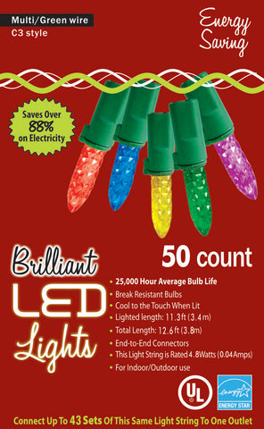 Holiday Multi-color 50 count LED Lights