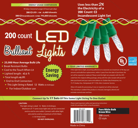 Holiday Lights 200 count LED Brilliant White