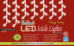 Holiday Lights - Brilliant White LED Icicle