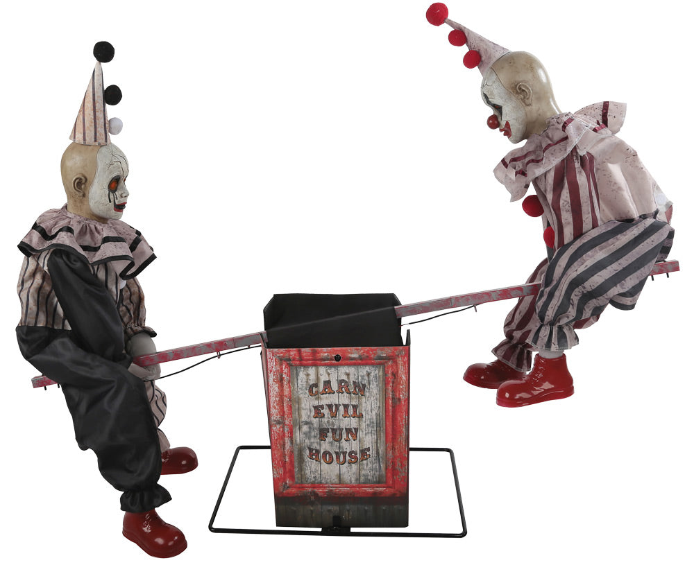 see saw clown animated halloween prop