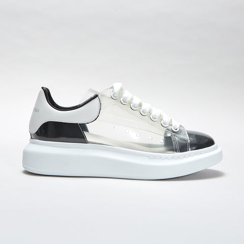 ALEXANDER MCQUEEN TRANSPARENT RAISED SOLE LOW TOP SNEAKER WHITE/BLACK